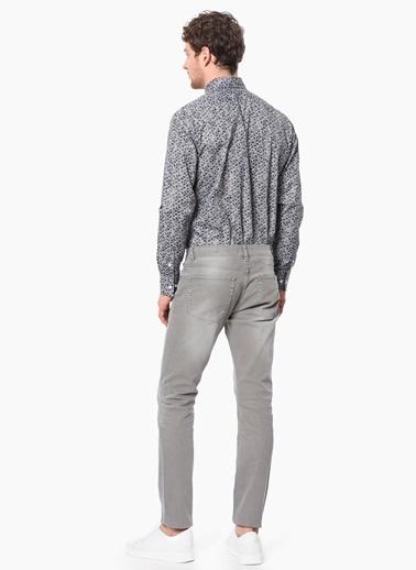 Slim Fit Desenli Uzun Kollu Gömlek-Network